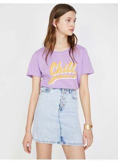 Koton Yazılı Baskılı T-Shirt Mor
